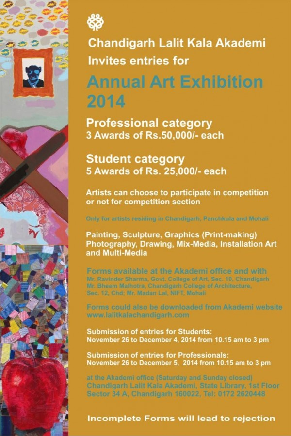 Entries Invited For Annual Art Exhibition 2014 Chandigarh Lalit